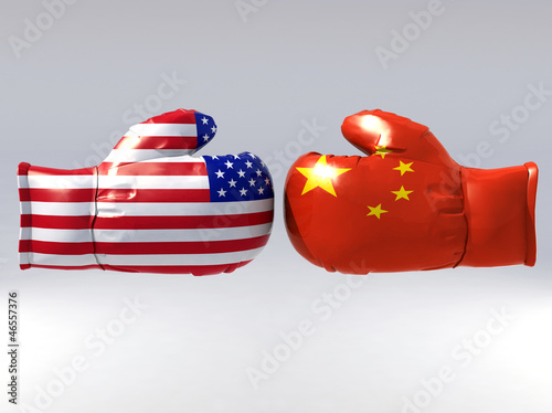 Boxing gloves with Usa and China flag