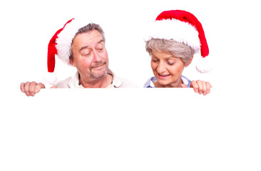 senioren mit weihnachtsmütze