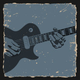 Guitar player on grunge background