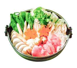 Japanese Sukiyaki set ready made for cooking isolates