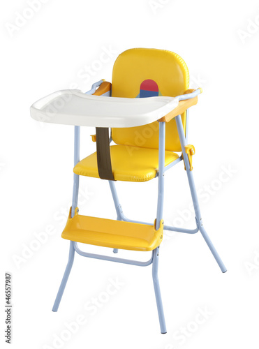 Nice child eating chair on white background
