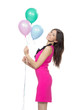 happy girl with pink balloons