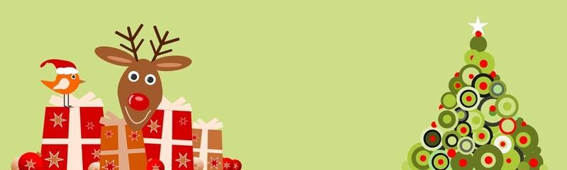 Vogel und Rentier mit Geschenken und Weihnachtsbaum