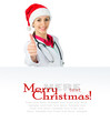 female doctor in Santa hat