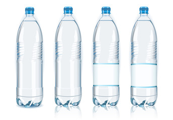 Four plastic bottles with generic labels