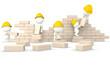 3D guys building a wall