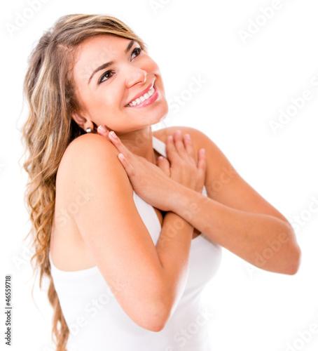 Thoughtful romantic woman