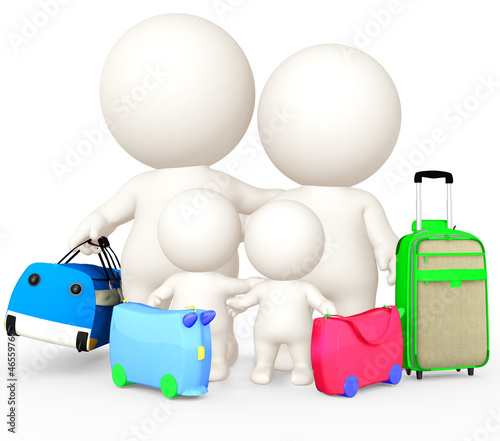 3D family going on holidays