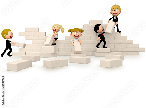 3D business people building a wall