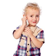 cheerful boy talking on the phone