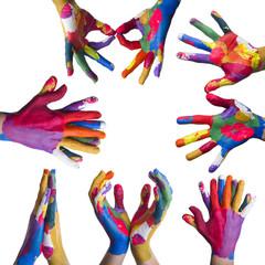 Composizione mani colorate