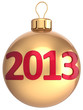 Gold Christmas ball New 2013 Year bauble lucky calendar date