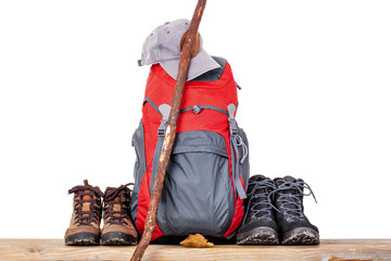 Hiking boots with backpack