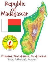Madagascar Africa national emblem map symbol motto