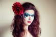 face-art  portrait of a beautiful  woman