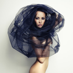 Gorgeous lady under veil