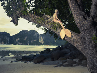 Beautiful mermaid sitting on mighty tree