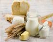 Leinwandbild Motiv Bread and dairy products