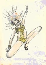 Springen und glücklich (- Zeichnung in Vektor)