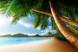 Fototapety sunset on beach, Mahe island, seychelles