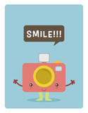 kawaii camera character, smile for a picture poster