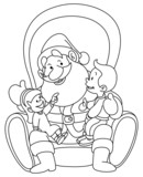 Outlined Santa with kids