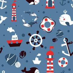 Vector seamless pattern with sea icons
