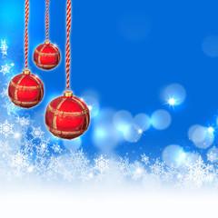 Blauer Weihnachtshintergrund mit Baumkugeln