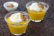 pudding with pumpkin and mango closeup horizontal