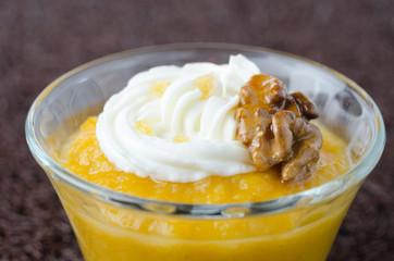 pudding with pumpkin and mango closeup