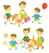 若い家族 ショッピング/ピクニック
