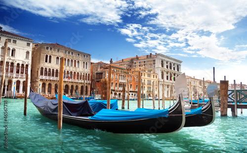 gondolas in Venice, Italy. - 46567718