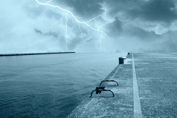 lightning ove rthe ocean from the pier