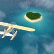 Wasserflugzeug steuert auf Insel in Herzform Karibik zu