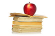 Red apple and stack of books