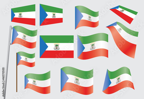 set of flags of Equatorial Guinea vector illustration