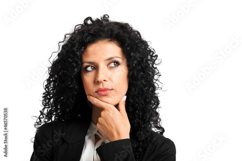 Businesswoman thinking at something