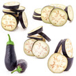 Collection of Eggplant sliced isolated on white background