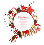 Fototapety White Christmas plate with ornaments and candies