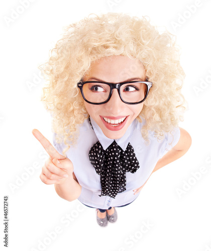 Funny businesswoman concept, fish eye lens portrait