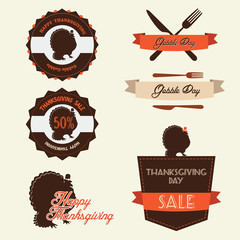 Set of vintage retro thanksgiving day labels and badges