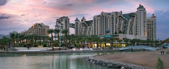 Promenade and resort hotels in Eilat, Israel