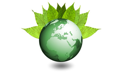 Planet Earth with leafs - ecological system Europe and Africa