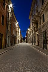 Matelica, Corso Vittorio Emanuele al crepuscolo