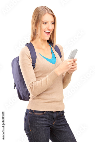 Excited female holding mobile phone