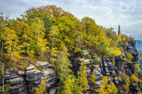 Lilienstein with colorful trees