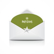 Envelope green card merry christmas, vector