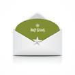 Envelope green card merry christmas, vector