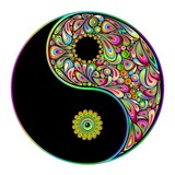 Yin Yang Symbol Psychedelic Art Design-Simbolo Psichedelico