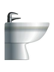 White realistic ceramic bidet. Eps10